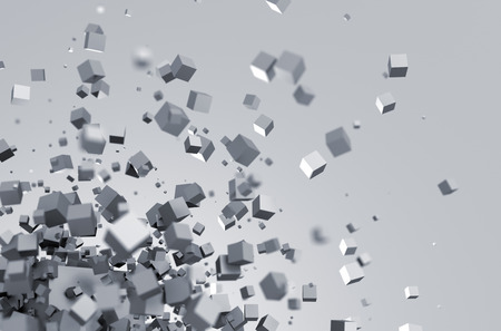 혼란 입자의 추상 3d 렌더링. 빈 공간에 과학 Fi를 큐브. 미래의 배경.