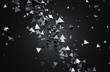 sci fi: Abstract 3d rendering of chaotic particles. Sci fi pyramids in empty space. Futuristic background.