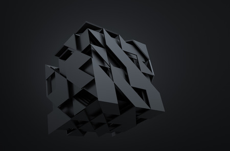 sci: Abstract 3d rendering of flying cube. Sci fi shape in empty space. Futuristic background.