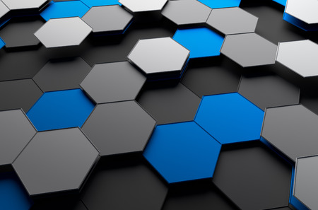 mesh background: Abstract 3d rendering of futuristic surface with hexagons. Sci-fi background.