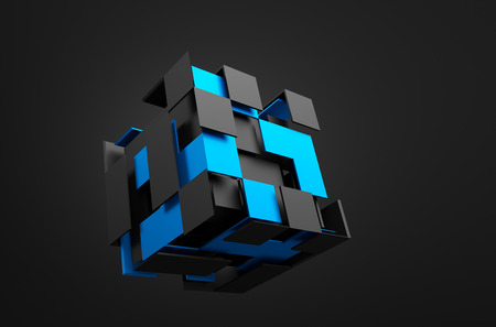 Abstract 3d rendering of flying cube. Sci fi shape in empty space. Futuristic background.