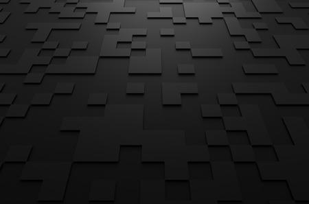 Abstrakt 3d-rendering schwarz futuristischen Oberfläche mit Quadraten. Science-Fiction-Hintergrund.