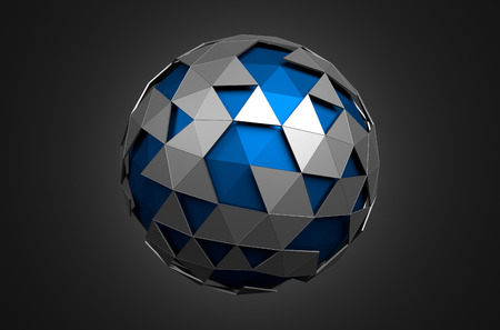 Abstract 3d rendering of low poly blue sphere with chaotic structure. Sci-fi background with wireframe and globe in empty space. Futuristic shape.