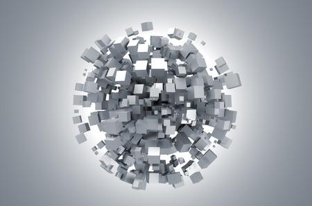 화이트 큐브의 3D 렌더링. 공상 과학 배경. 빈 공간에서 추상 구입니다. 미래의 모양.