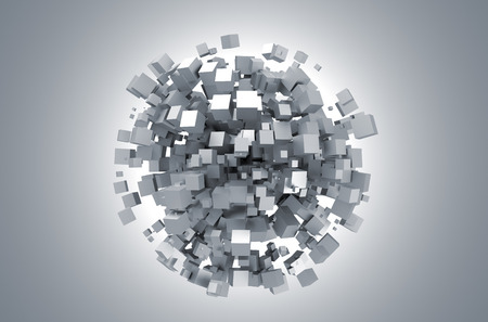 3D rendering of white cubes. Sci-fi background. Abstract sphere in empty space. Futuristic shape.