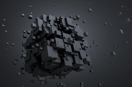 혼란 입자의 추상 3d 렌더링입니다. 빈 공간에 Sci fi 큐브입니다. 미래의 배경입니다.