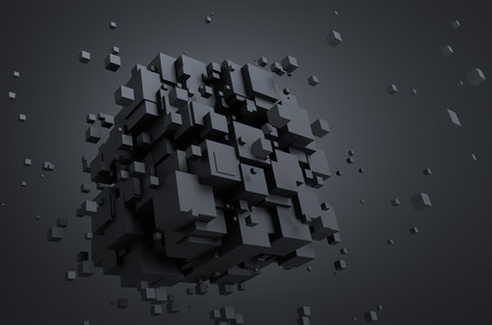 chaotic: Abstract 3d rendering of chaotic particles. Sci fi cubes in empty space. Futuristic background.