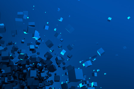 sci fi: Abstract 3d rendering of chaotic particles. Sci fi cubes in empty space. Futuristic background.