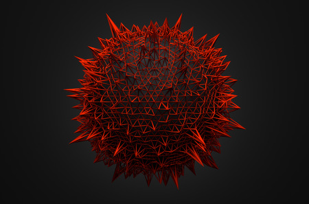 red sphere: Abstract 3d rendering of sphere with chaotic structure. Dark background with wireframe and globe in empty space. Futuristic shape.