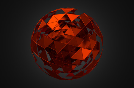Abstract 3d rendering of low poly sphere with chaotic structure. Sci-fi background with wireframe and globe in empty space. Futuristic shape.