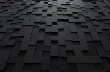 Abstracte 3D-weergave van zwart futuristische oppervlak met vierkantjes. Sci-fi achtergrond.