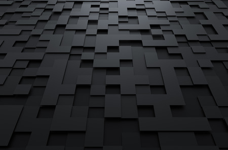 Abstract 3d rendering of black futuristic surface with squares. Sci-fi background.