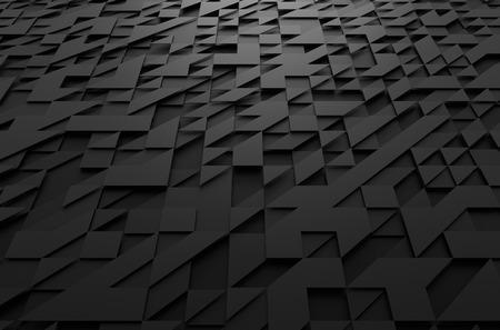 삼각형으로 검은 미래의 표면의 추상 3d 렌더링. 공상 과학 배경. 스톡 콘텐츠