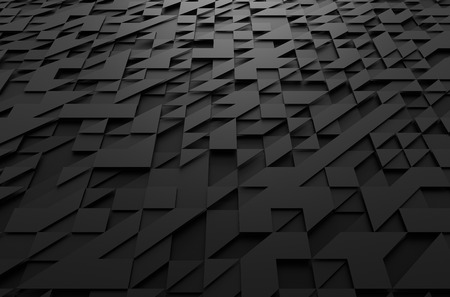 Abstract 3d rendering of black futuristic surface with triangles. Sci-fi background.
