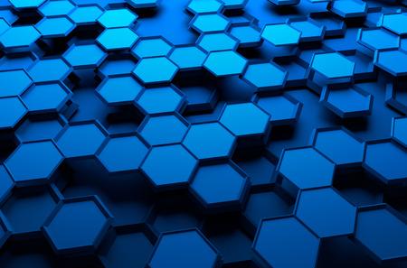 六角形で未来の表面の 3d レンダリングを抽象化します。青色のサイファイの背景。