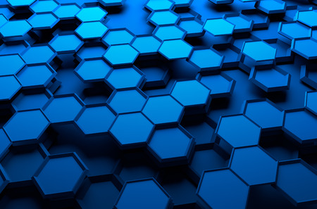 hexagon background: Abstract 3d rendering of futuristic surface with hexagons. Blue sci-fi background.