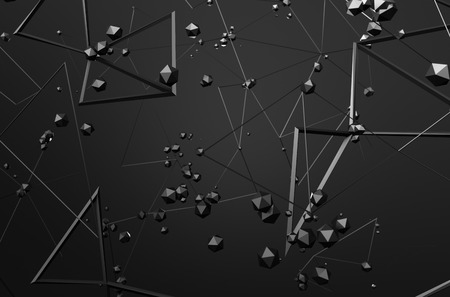 Abstract 3d rendering of chaotic structure. Dark background with lines and low poly spheres in empty space. Futuristic shape. Foto de archivo