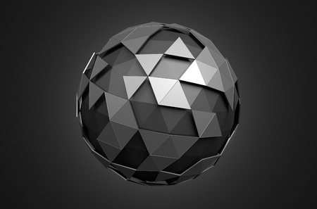 metal sphere: Abstract 3d rendering of low poly black sphere with chaotic structure. Sci-fi background with wireframe and globe in empty space. Futuristic shape. Stock Photo