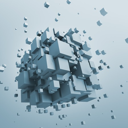 sci: Abstract 3d rendering of chaotic particles. Sci fi cubes in empty space. Futuristic background.