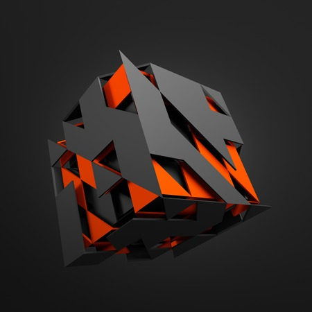 sci fi: Abstract 3d rendering of flying cube. Sci fi shape in empty space. Futuristic background.