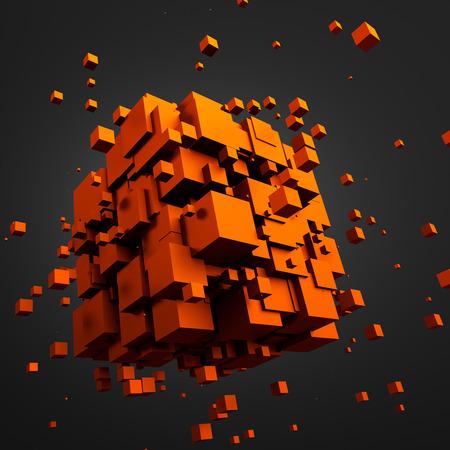 sci: Resumen representaci�n 3D de part�culas ca�ticas. Cubos de ciencia ficci�n en el espacio vac�o. Fondo futurista. Foto de archivo