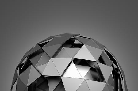 Abstrakt 3D-Rendering von Low-Poly-Kugel mit chaotische Struktur. Science-Fiction-Hintergrund mit Drahtmodell und Kugel im leeren Raum. Futuristische Form.