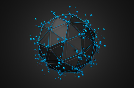 Abstract 3d rendering of low poly black sphere with chaotic structure. Sci-fi background with wireframe and globe in empty space. Futuristic shape. Standard-Bild