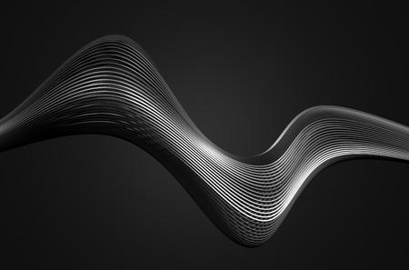 첨단 금속 구조의 추상 3d 렌더링. 빈 공간에 크롬 라인 어두운 배경입니다. 미래 철강 모양. 스톡 콘텐츠