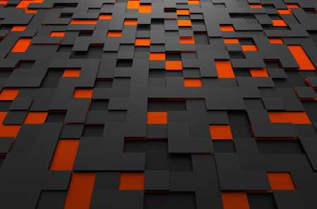Abstract 3d rendering of black and orange futuristic surface with squares. Sci-fi background. Foto de archivo