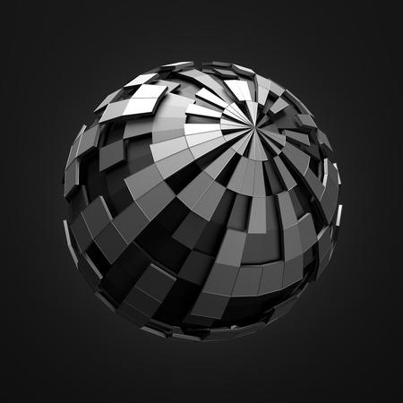 혼돈의 구조와 낮은 폴리 검은 구체의 추상 3d 렌더링. 빈 공간에 와이어 프레임과 세계와 공상 과학 배경. 미래의 모양.