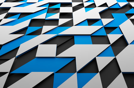 scifi: Abstract 3d rendering of black, blue and white futuristic surface with triangles. Sci-fi background.