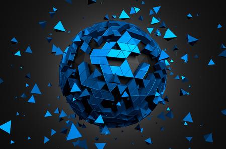 Abstrakt 3D-Rendering von Low-Poly-Kugel mit chaotische Struktur. Science-Fiction-Hintergrund mit Globus in leeren Raum. Futuristische Form. Standard-Bild - 40605549