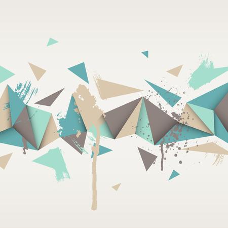 ベクトルの背景。三角形の抽象的なテクスチャのイラスト。バナー、ポスター、チラシのパターン デザイン。手描き水彩塗料スプラッシュ。  イラスト・ベクター素材