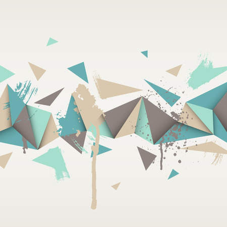Vector background. Illustration of abstract texture with triangles. Pattern design for banner, poster, flyer. Hand drawn watercolor paint splash.