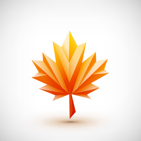 the element: Conceptual polygonal maple leaf. Abstract vector Illustration, low poly style. Stylized design element for banner, poster, flyer, cover, brochure. Symbol of autumn. Logo design.
