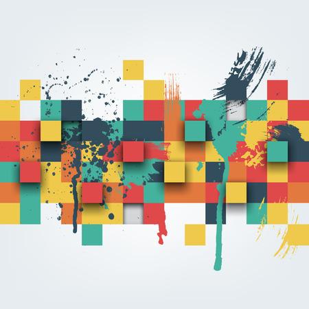 Vector de fondo. Ilustración de la textura abstracto con plazas y salpicaduras de pintura. Patrón de diseño para la bandera, cartel, folleto, cubierta, folleto. Dibujado a mano chapoteo de la pintura de acuarela. Ilustración de vector