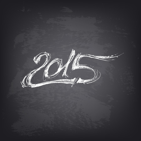 stylized design: Happy new year 2015. Abstract vector Illustration. Hand drawn 2015 on chalkboard. Background design for banner, poster, flyer, cover, brochure. Stylized design element. Blackboard texture.