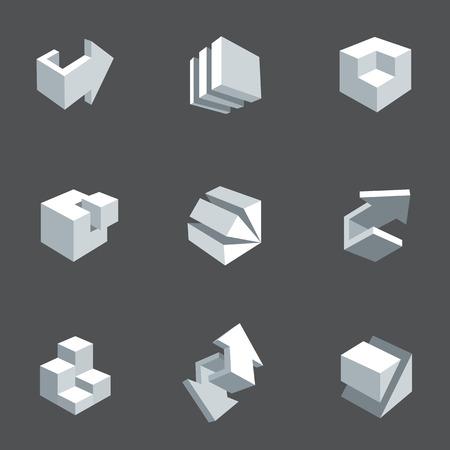 logo batiment: Vector illustration de fl�ches et les cubes abstraits, le style bas de poly. 3d icon set. �l�ment de conception pour banni�re, affiche, flyer, couverture, brochure. Figures g�om�triques polygonales. Logo design.