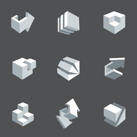 building block: Vector illustration of abstract arrows and cubes, low poly style. 3d icon set. Design element for banner, poster, flyer, cover, brochure. Polygonal geometric figures. Logo design.