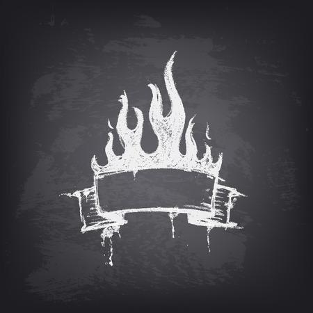 Zusammenfassung Vektor-Design-Element auf Tafel. Hand gezeichnet Band mit Feuer und Platz für Text. Hintergrund Textur der Tafel. Pattern Design für Banner, Poster, Flyer, Cover, Broschüre.