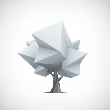 Conceptual polygonal tree. Abstract vector Illustration, 3d low poly style. Stylized design element. Background design for poster, flyer, cover, brochure.  Vectores