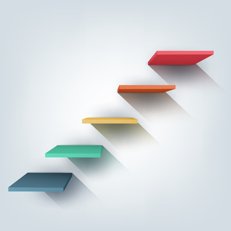 Abstract vector Illustration. Composition of 3d stairs. Background design for banner, poster, flyer, cover, brochure. Stages of learning, steps of education concept.