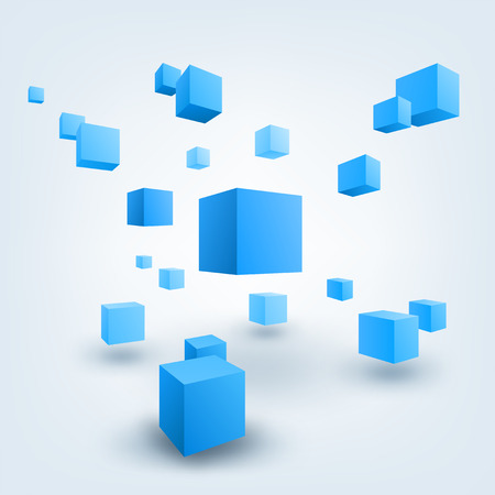 Abstract vector Illustration. Composition of 3d cubes. Background design for banner, poster, flyer.