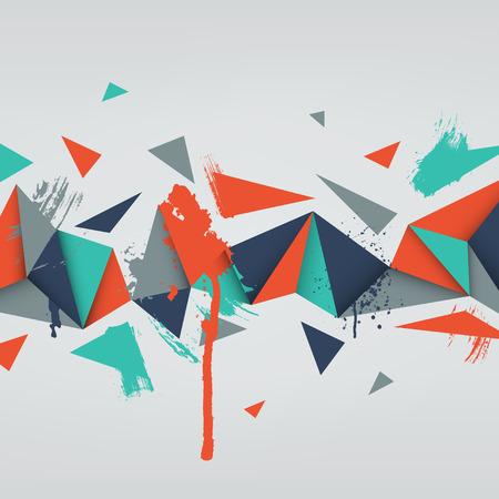 벡터 배경입니다. 삼각형 추상 질감의 그림입니다. 배너, 포스터, 전단지에 대한 패턴 디자인. 손 수채화 페인트 얼룩을 그려. 일러스트