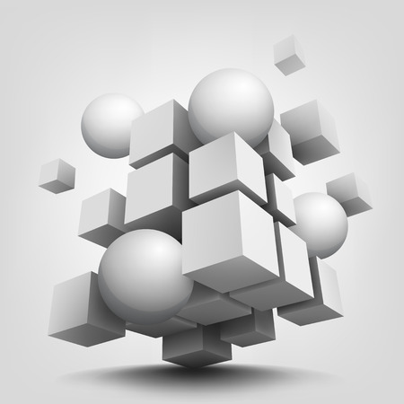 Abstract vector Illustration. Composition with 3d cubes and spheres. Background design for banner, poster, flyer.