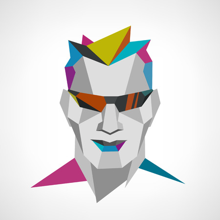 fashion portrait: Conceptual polygonal face of a man with sunglasses. Abstract vector Illustration, low poly style. Fashion stylish portrait. Design element for poster, flyer, cover, brochure. Illustration