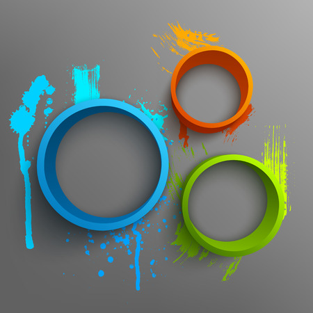 Vector illustration of 3d rings. Background design for banner, poster, flyer. Hand drawn watercolor paint splash.
