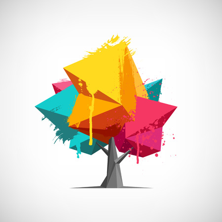 Conceptual polygonal tree with hand drawn watercolor paint splashes. Abstract vector Illustration, low poly style. Stylized design element. Background for poster, flyer, cover, brochure. Logo design.