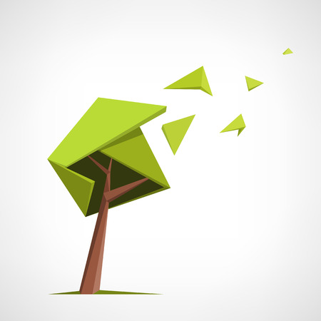 Conceptual polygonal tree. Abstract vector Illustration, low poly style. Stylized design element. Background design for banner, poster, flyer. Logo design.