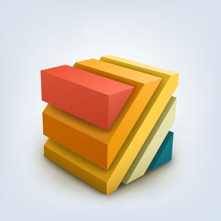 3D 큐브의 추상 벡터 일러스트 레이 션. 배너, 포스터, 전단지에 대한 배경 디자인.